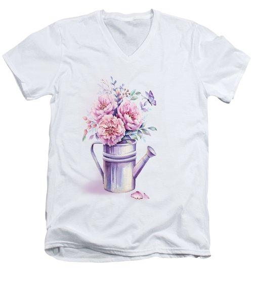 Pink Peonies Blooming Watercolour Men's V-Neck T-Shirt