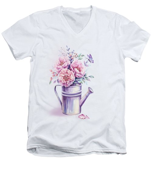 Men's V-Neck T-Shirt featuring the painting Pink Peonies Blooming Watercolour by Georgeta Blanaru