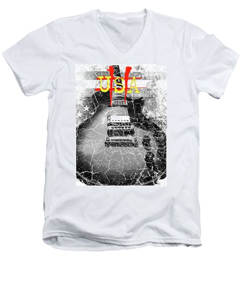 Usa Flag Guitar Relic Men's V-Neck T-Shirt
