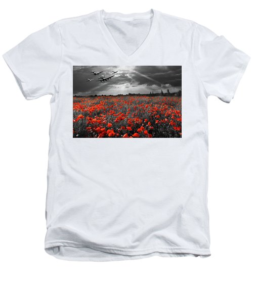 Men's V-Neck T-Shirt featuring the photograph At The Going Down Of The Sun Selective Red Version by Gary Eason