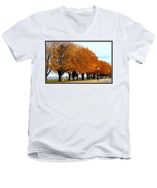 Autumn Leaves In Menominee Michigan Men's V-Neck T-Shirt