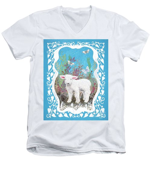Baby Lamb With White Butterflies Men's V-Neck T-Shirt