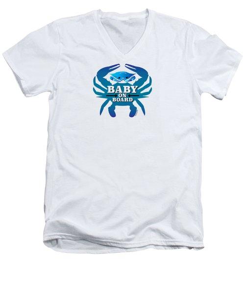 Baby On Board, Blue Crab Men's V-Neck T-Shirt