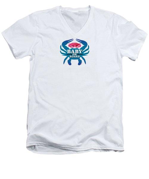 Baby On Board, Pink Crab Men's V-Neck T-Shirt