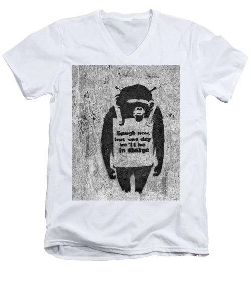 Banksy Chimp Laugh Now Graffiti Men's V-Neck T-Shirt