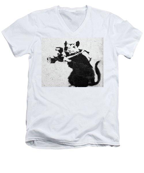 Banksy Rat With Camera Men's V-Neck T-Shirt