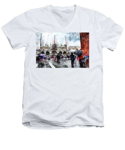 Men's V-Neck T-Shirt featuring the digital art Basilica Of Saint Mark In Venice With Watercolor Look by Eduardo Jose Accorinti