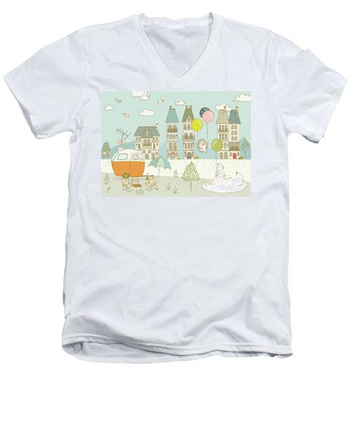 Men's V-Neck T-Shirt featuring the painting Bears And Mice Outside The City Cute Whimsical Kids Art by Matthias Hauser