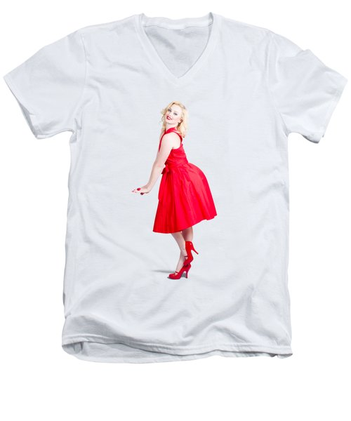 Beautiful Woman Model In Red Dress And High Heels Men's V-Neck T-Shirt