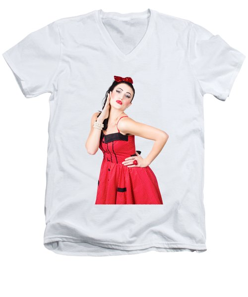 Beautiful Young Pin-up Woman In Retro Fashion Men's V-Neck T-Shirt