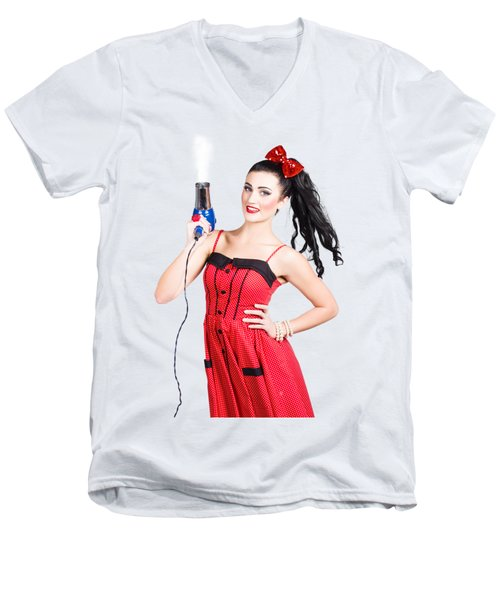 Beauty Style Portrait Of A Elegant Hairdryer Woman Men's V-Neck T-Shirt