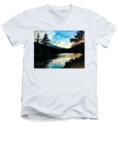 Men's V-Neck T-Shirt featuring the photograph Beaver Brook Lake by Dan Miller