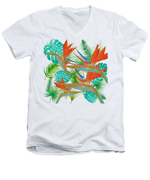 Bird Of Paradise Flower And Tropical Leaves And Ferns Men's V-Neck T-Shirt