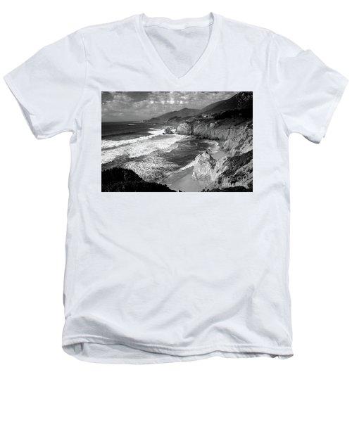 Black And White Big Sur Men's V-Neck T-Shirt