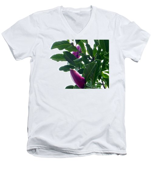 Men's V-Neck T-Shirt featuring the photograph Blossoming Magnolias by Rockin Docks