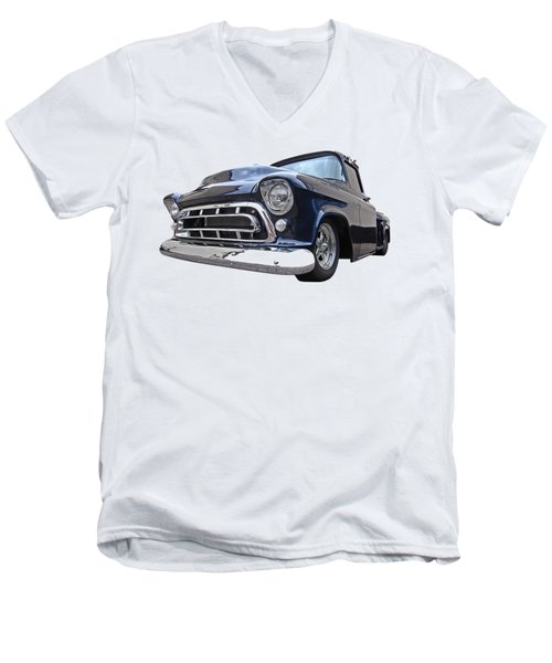 Blue 57 Stepside Chevy Men's V-Neck T-Shirt
