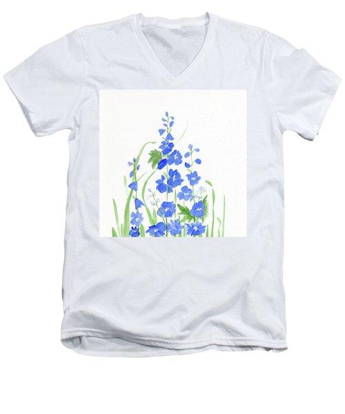 Blue Larkspur  Men's V-Neck T-Shirt