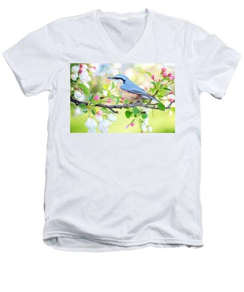 Blue Orange Bird Men's V-Neck T-Shirt