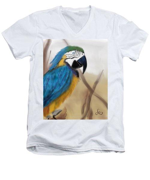 Men's V-Neck T-Shirt featuring the digital art Blue Parrot by Fe Jones