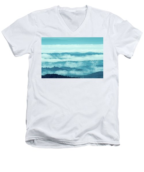 Blue Ridge Mountains Layers Upon Layers In Fog Men's V-Neck T-Shirt
