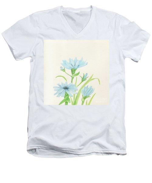 Blue Wildflowers Watercolor Men's V-Neck T-Shirt