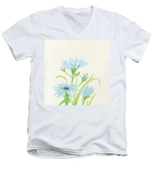 Blue Wildflowers Watercolor Men's V-Neck T-Shirt