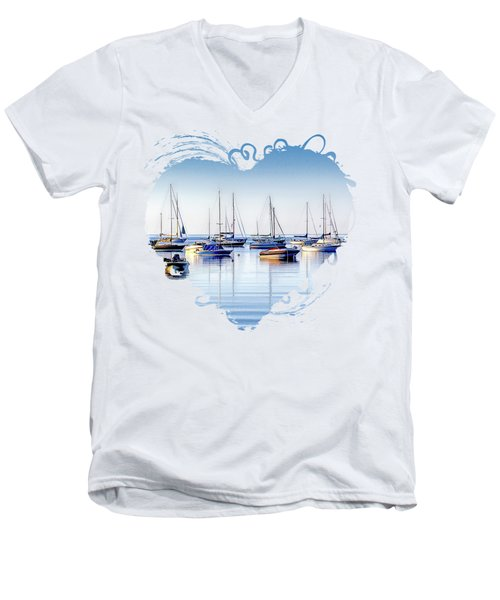 Boat Reflections Panorama Men's V-Neck T-Shirt