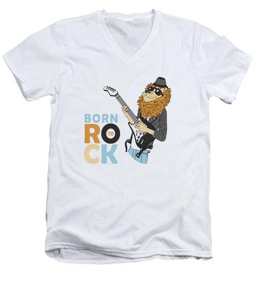 Born To Rock - Baby Room Nursery Art Poster Print Men's V-Neck T-Shirt