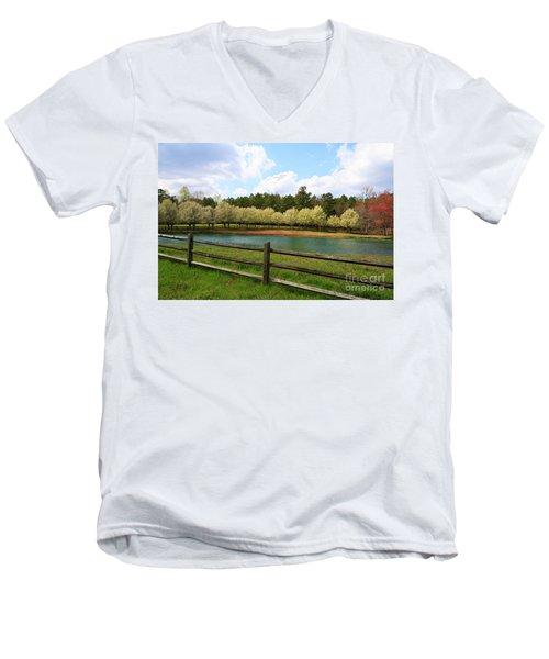 Bradford Pear Trees Blooming Men's V-Neck T-Shirt
