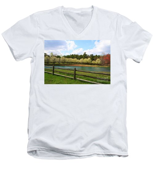 Bradford Pear Trees Blooming Men's V-Neck T-Shirt