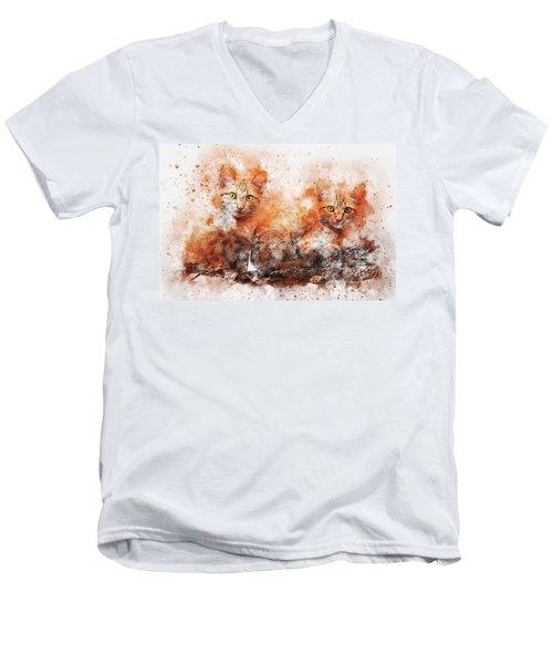 Brothers Cat Men's V-Neck T-Shirt