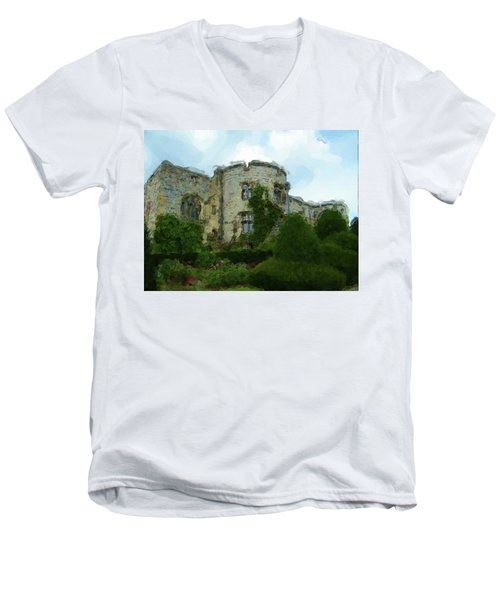 Chirk Castle Painting Men's V-Neck T-Shirt