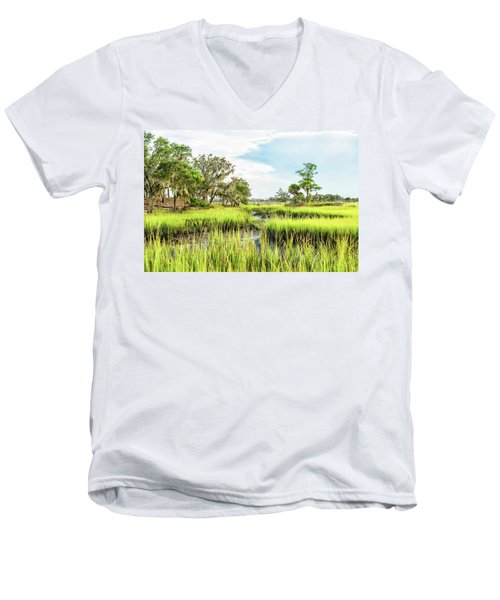 Chisolm Island - Marsh At Low Tide Men's V-Neck T-Shirt