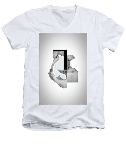 Cinerealism Bereft - Surreal Abstract Bone Collage And Geometry Men's V-Neck T-Shirt