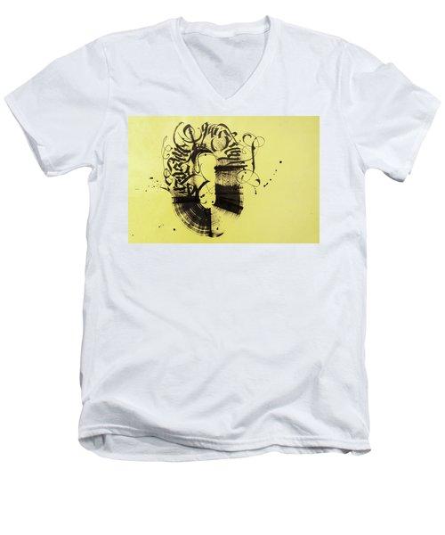 Circulation. Calligraphic Abstract Men's V-Neck T-Shirt