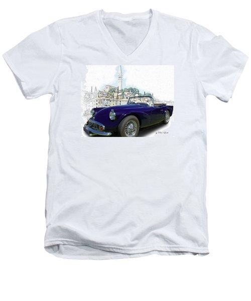 Classic British Sports Car In Croatia Men's V-Neck T-Shirt