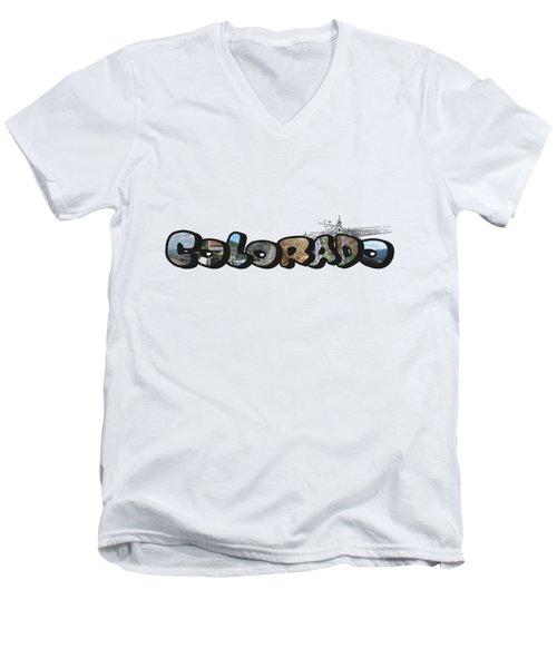 Colorado Big Letter Digital Art Men's V-Neck T-Shirt