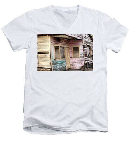 Men's V-Neck T-Shirt featuring the photograph Colorful House - Dominican Republic by Rick Veldman
