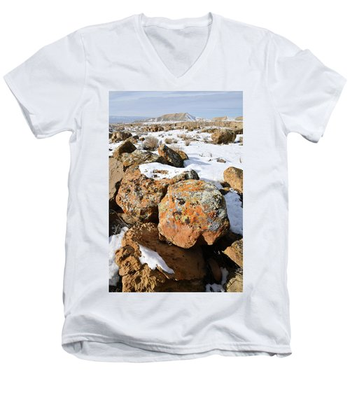 Colorful Lichen Covered Boulders In Book Cliffs Men's V-Neck T-Shirt