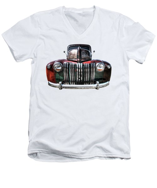 Colorful Rusty Ford Head On Men's V-Neck T-Shirt