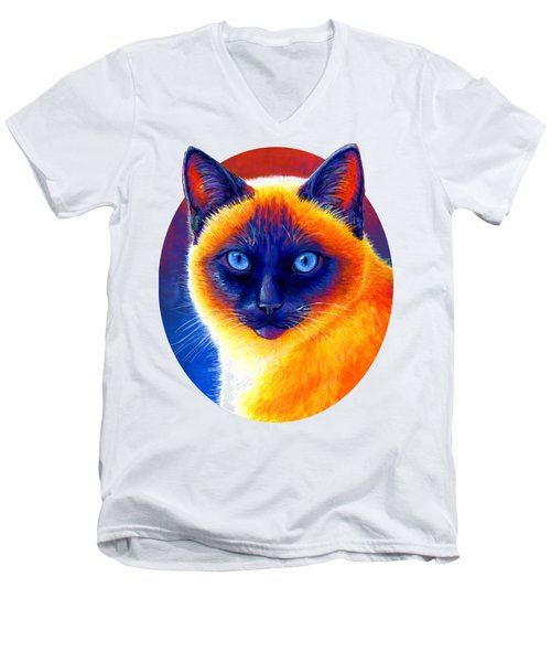 Jewel Of The Orient - Colorful Siamese Cat Men's V-Neck T-Shirt