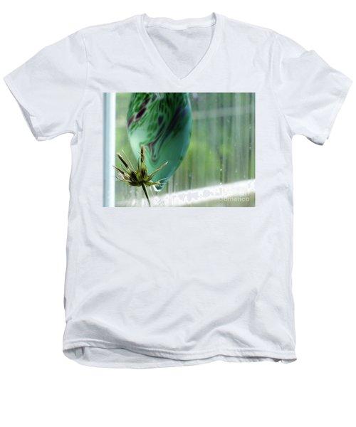 Composition In Green Men's V-Neck T-Shirt