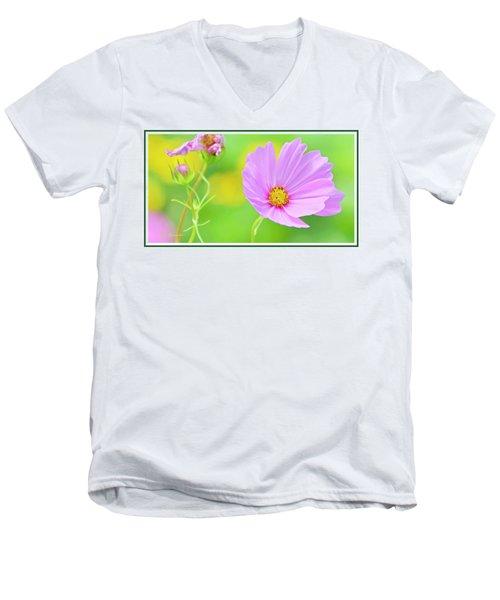 Cosmos Flower In Full Bloom, Bud Men's V-Neck T-Shirt