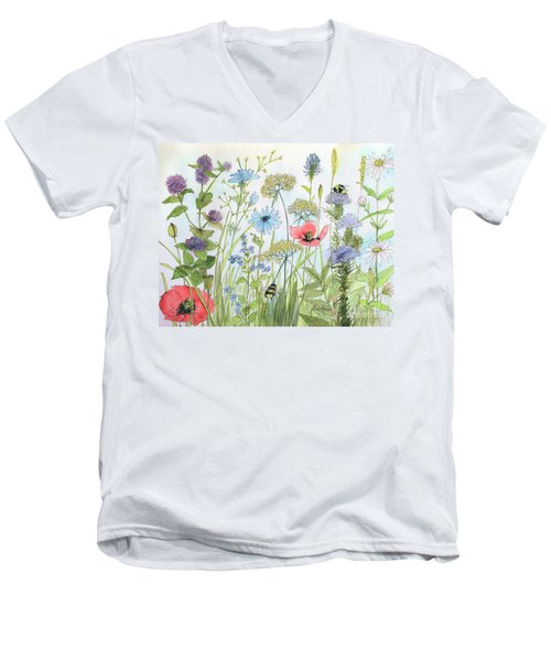 Cottage Garden Flowers Bees Nature Art  Men's V-Neck T-Shirt