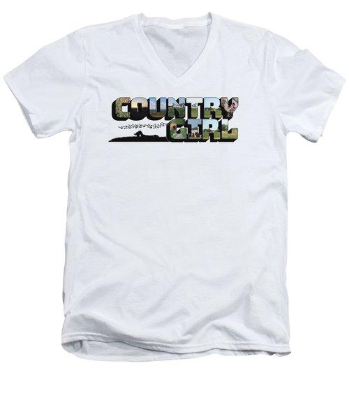 Country Girl Big Letter Men's V-Neck T-Shirt