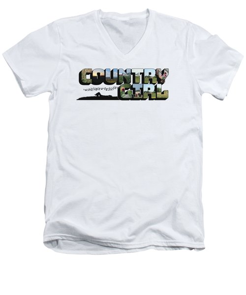 Country Girl Big Letter Men's V-Neck T-Shirt
