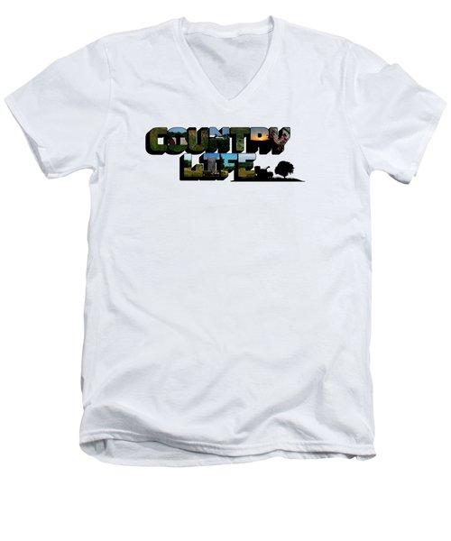 Country Life Big Letter Men's V-Neck T-Shirt