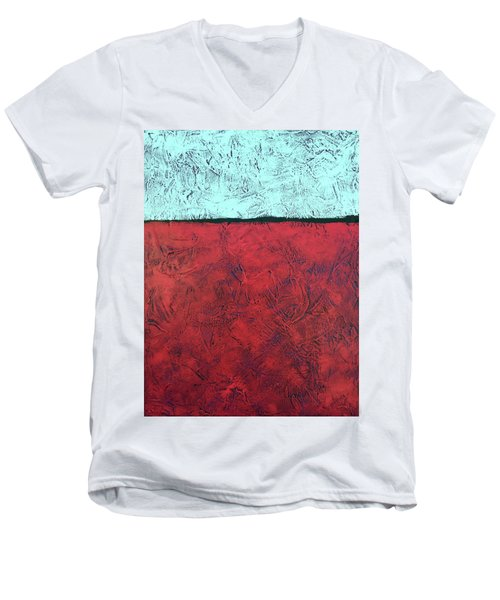 Crimson Earth Meets Pearl Sky Men's V-Neck T-Shirt