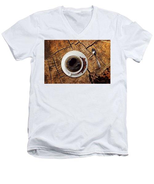 Cup Of Coffe On Wood Men's V-Neck T-Shirt