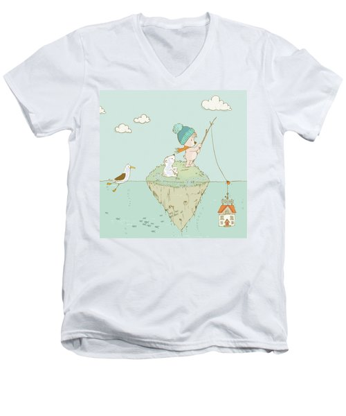 Men's V-Neck T-Shirt featuring the painting Cute Little Bear Goes Fishing by Matthias Hauser